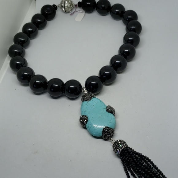 Jewelry - Large round onyx beads with detachable tassel.